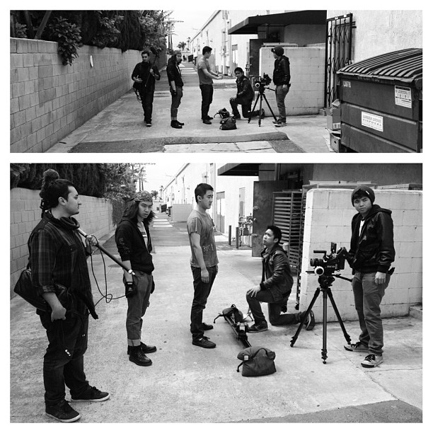 Dillan Damodar, Brian Lac, Andrew Ng, Edricdale Silla, Naofumi Kudo on the set of Classy Deer's film Ink